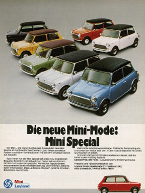 The new Mini-Fashion: Mini Special - Advertisement in 'Motorrad' 7/1977 by Leyland GmbH, Düsseldorf