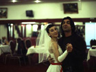 Sibel Kekilli dancing with Filmmaker Fatih Akin on the set of 'Head On' (2003). Copyright: Wüste Filmproduktion, photo by Kerstin Stelter
