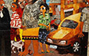 Chike Obeagu, City Scape and City Dwellers, 2013 mixed media 8×6 ft image, courtesy of the artist