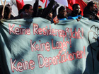 Refugees demonstrate in the Oranienplatz in Berlin; ©Leif Hinrichsen
