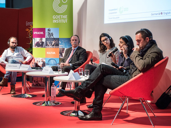from left to right: Yamen Hussein, Klaus-Dieter Lehmann, Amira El-Ahl, Basma El Husseiny, Albert Ostermaier; Photo: Mirko Lux