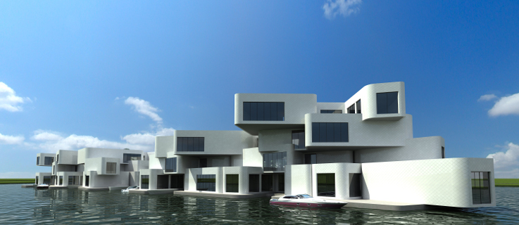 The Citadel is a floating apartment complex near Naaldwijk, Netherlands. | © Architect Koen Olthuis, Waterstudio.NL
