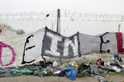 Banner made by refugees protesting against the EU border regime in Idomeni, Greece. Photo: Kai Wiedenhöfer