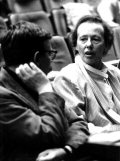 Director and opera manager Ruth Berghaus from East Berlin in a discussion with stage designer Axel Manthey during the rehearsal of Richard Wagner's Valkyrie at the Frankfurt Opera on 29 April 1986. Cop: picture-alliance / dpa