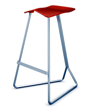 TRITON Bar Stool, Design 2001 Production 2007, for CLASSICON Structure CNC bent steel Seat shell polyurethane, © KRAM/WEISSHAAR AB
