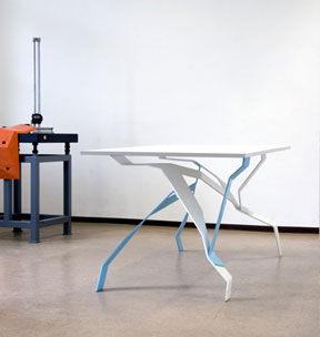 TABLE Nr. 68 from the 3rd Series,  2006, Laser cut, CNC bent and powder coated mild steel, Photo:Florian Böhm, ©  KRAM/WEISSHAAR AB