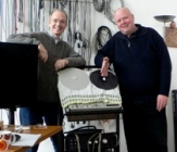 Rory MacLean with Frieder Butzmann  (right) in his Berlin studio.