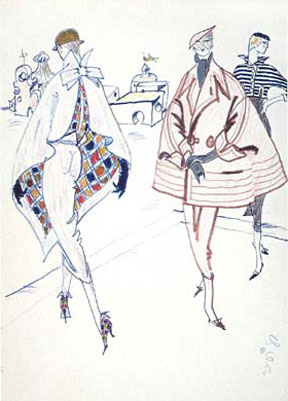 Walter Voigt: The crazy dreams Haute Couture, sketched outline, around 1960, Cop: Staatliche Museen zu Berlin, Kunstbibliothek