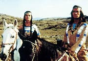 Winnetou (Pierre Brice) and his sister Ntscho-tschi (Marie Versini).