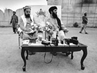 Gulbuddin Hekmatyar, leader of the Islamic Party of Afghanistan, at a press conference in Peshawar, Pakistan, August 9th 1989; Photo: Kees Metselaar/Hollandse Hoogte/laif