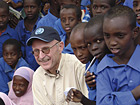 Willi Lemke, Special Adviser to the UN Secretary General on Sports for Development and Peace, with children from Illeys Primary School, Dagahaley Camp, Dadaab, Kenya. June 23rd, 2008 © UNHCR