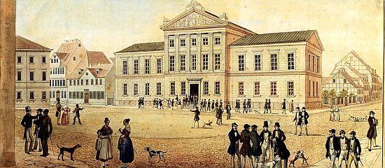 Friedrich Besemann (1796–1854): Die neue Aula der Universität Göttingen; Federzeichnung, aquarelliert; um 1837; 28,7 x 42,1 cm