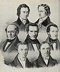 Lithografie von Carl Rohde, 1837/38. Die Göttinger 7: (1)Wilhelm Grimm (2)Jacob Grimm (3)Wilhelm Eduard Albrecht(4) Friedrich Christoph Dahlmann (5)Georg Gottfried Gervinus (6)Wilhelm Eduard Weber (7)Heinrich Georg August Ewald