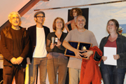 The Ensemble Materialtheater with the award of Synergura 2012 (f.l.t.r.) Luigi Consalvo, Daniel Kartmann, Sigrun Kilger, Alberto García Sánchez, Anette Scheibler; photo: Lutz Edelhoff