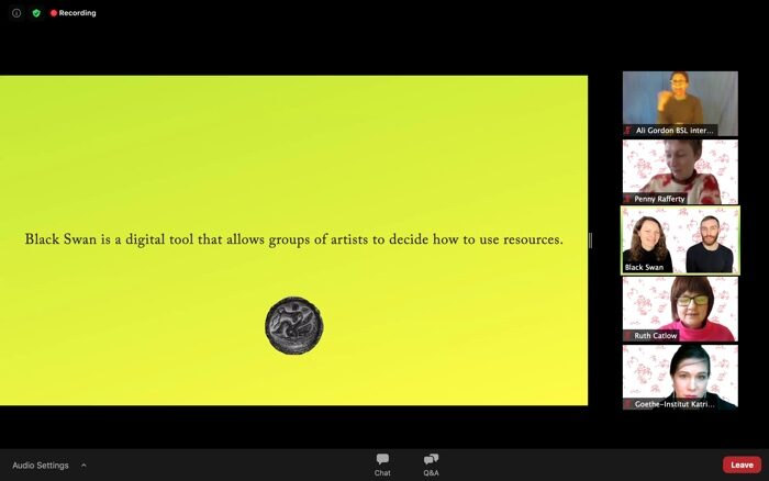 "Screenshot from the ""Berlin: Black Swan DAO"" Zoom online session, 28 January 2020"