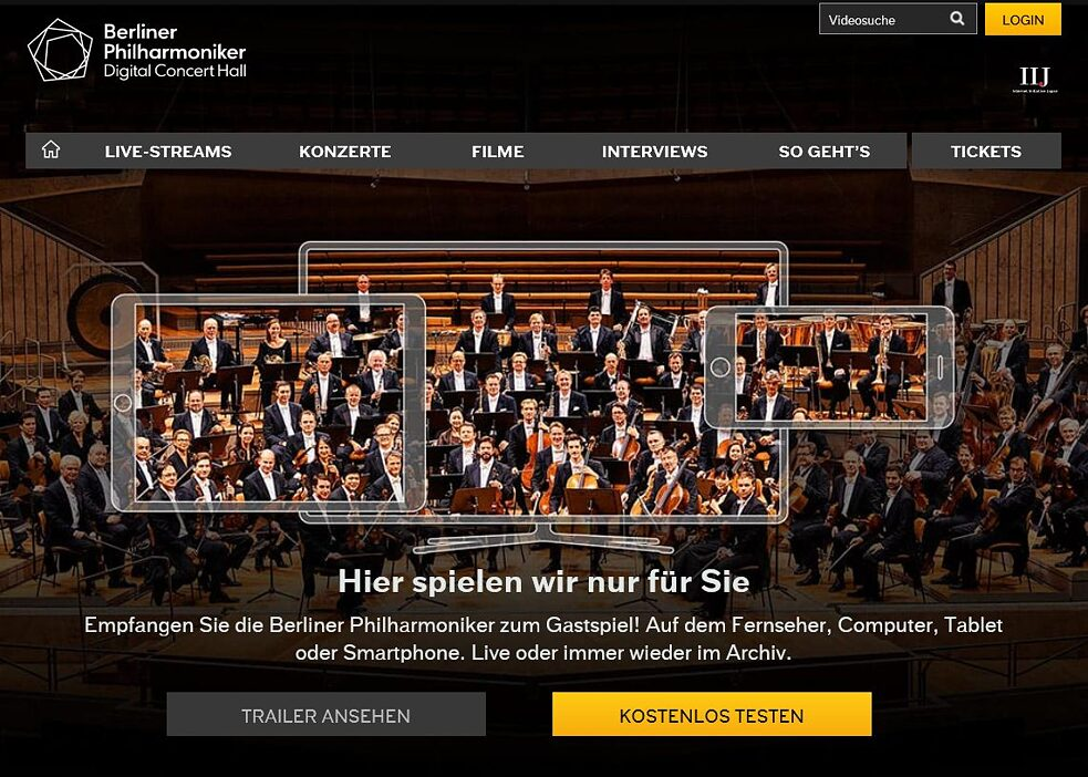 Screenshot der Digital Concert Hall der Berliner Philharmoniker