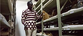 Dennis Opudo, Head of the Anthropological Department of the Nairobi National Museum, in the Museum's Ethnographic Collection