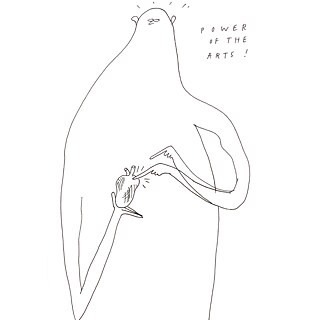 Drawing of a figure gently poking a heart in his hands