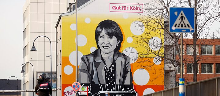 One of the few to make it in local politics: mural of Cologne Mayor Henriette Reker.