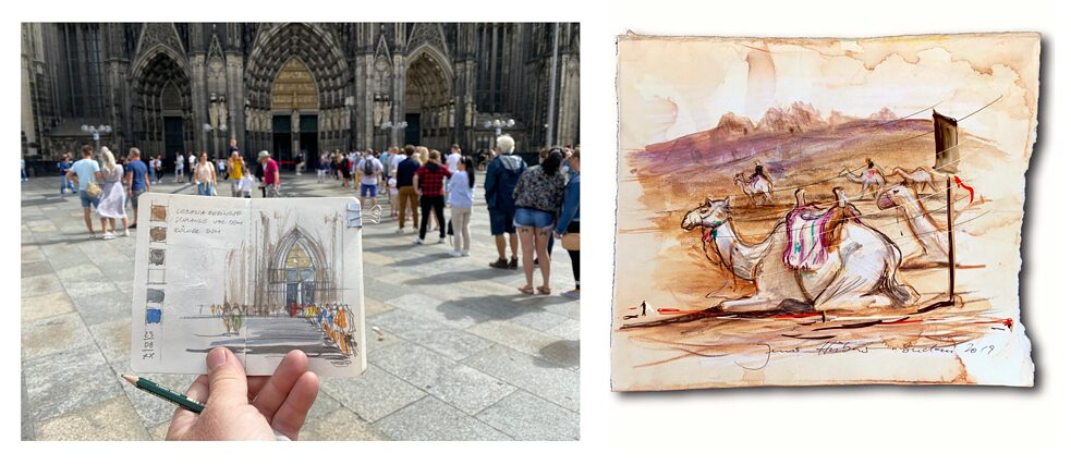 Jens Hübner draws everywhere – at the entrance of the Cologne Cathedral or in the middle of the desert.
