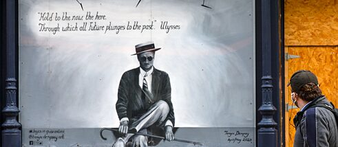 "A mural about James Joyce with a quote from his novel ""Ulysses"", a prime example of a literary text that is difficult to translate."