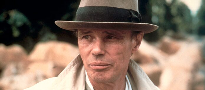 Never without a hat: Joseph Beuys at the documenta 7 in Kassel, 1982.