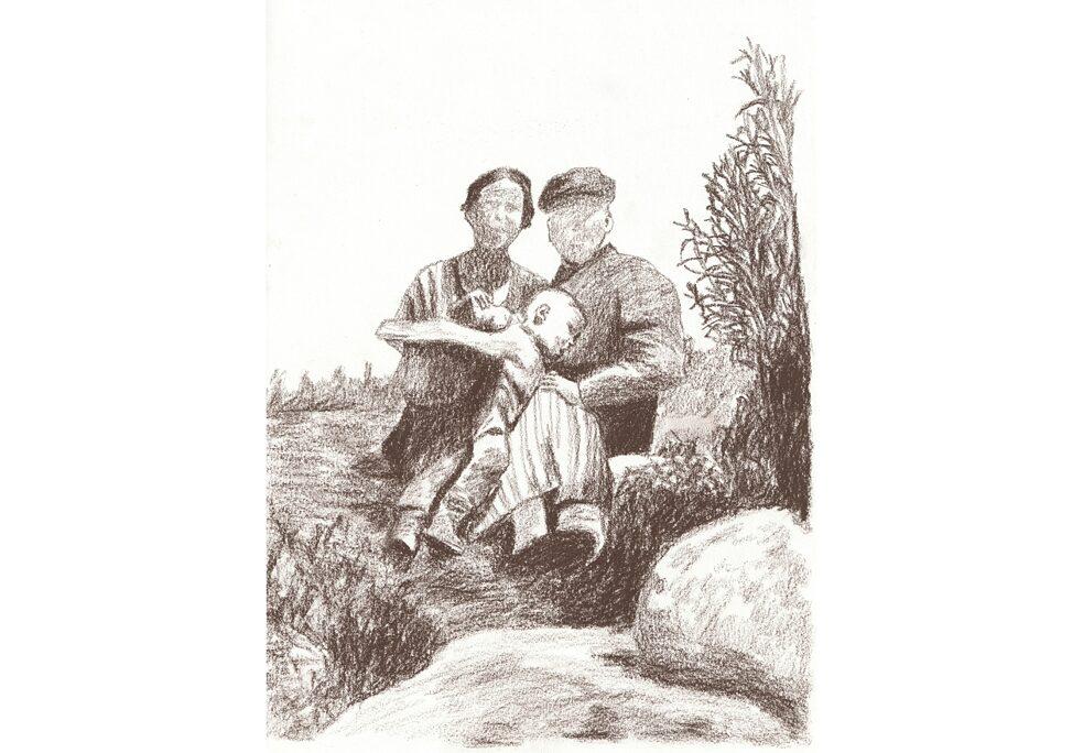 Desenho baseado em uma fotografia familiar pertencente à família Cossio Tidow. Ulrich Tidow e seus pais, Hans e Therese Tidow, na Campina de Arequipa, no sul do Peru. Hans Tidow trabalhou na Cervejaria Alemã Günther & Tidow S.A.