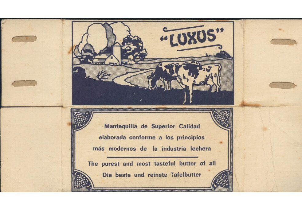 Manteiga Luxus, produzida na fazenda Constancia, com uma embalagem disponível em espanhol, inglês e alemão.