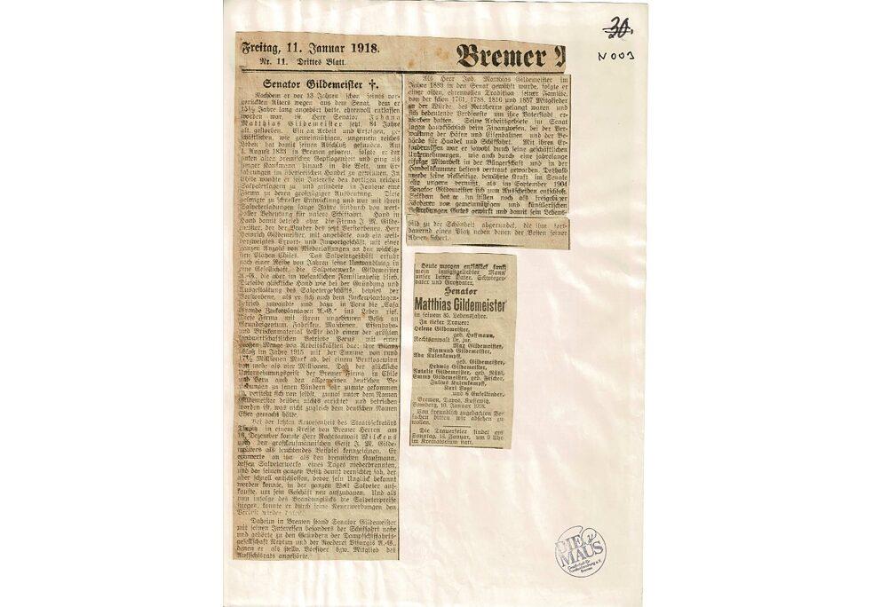 Obituário do jornal de Bremen do ano 1918, onde são mencionados os negócios de Gildemeister no Peru e no Chile.