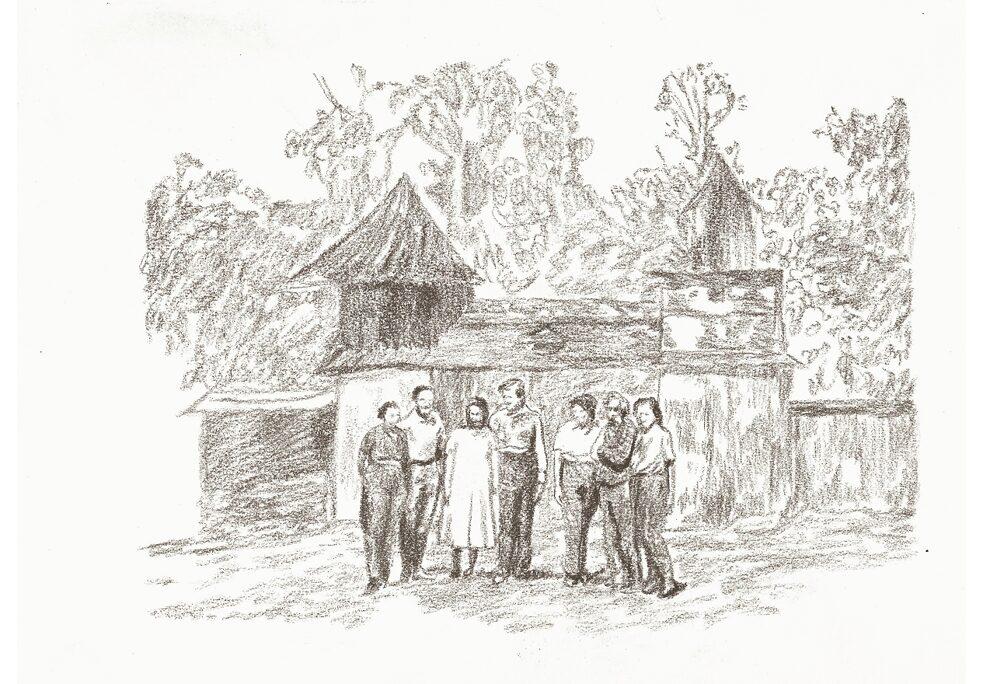 Desenho baseado em uma fotografia da família Böttger em sua propriedade em Yanachaga, no distrito de Huancabamba, no centro do Peru. Na fotografia original estavam presentes Pablo Böttger Treu, sua esposa Mina Nissen e sua família. Autor desconhecido.