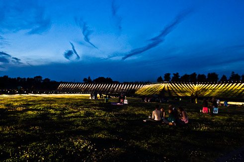 Opening of Pulse Park, an interactive lightinstallation by Rafael Lozano-Hemmer, Westpark Bochum