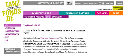 Screenshot der Homepage des Tanzfonds Erbe