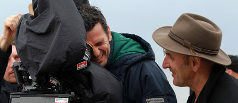 "Christian Petzold at the set of ""Barbara""."