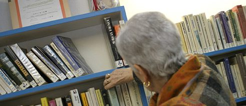 Senior citizens in the library