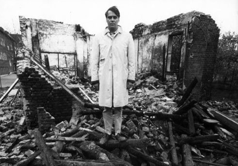 Günther Uecker at the ruins of his studio in Düsseldorf, 1965;