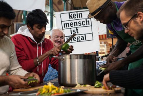 "The artists' group ""Reinigungsgesellschaft"" co-operated with inhabitants of the refugee camp nearby during the Citizen Art Days 2013 in Berlin."