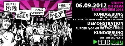 Call for the anti-GEMA campaign in Berlin