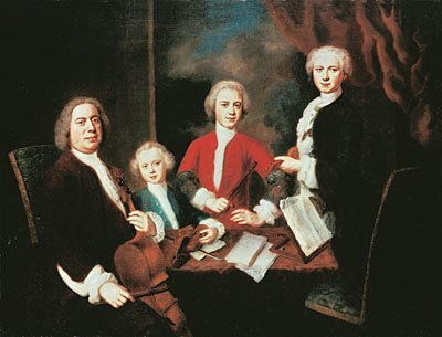 Johann Sebastian Bach with his sons, Germany, 1730