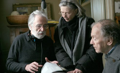 Michael Haneke and his leading actors Jean-Louis Trintignant and Emmanuelle Riva. Photo: Denis Manin