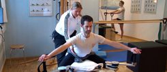 Specific physio in the GYROTONIC-Method at the Pulley Tower Combination Unit. photo: Bernd Gahlen