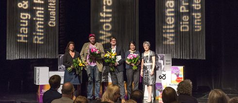 Award ceremony of the Mülheim Theatre Festival 2014: Helgard Haug, Daniel Wetzel / Rimini Protocol, Wolfram Höll and Milena Baisch with Dagmar Mühlenfeld, Lord Mayor of the city of Mülheim an der Ruhr