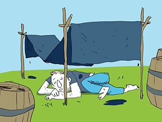 "<b>Blaumachen (to skip work, take a duvet day; literally: to go blue)</b><br><br>The expression goes back to the free day given members of artisan associations. From the time of the late Middle Ages into the modern era, artisans could ""take Monday off"". The adverb blau (blue) here has nothing to do with excessive alcohol consumption, as it does in other German idioms (for example, ""total blau"", or ""drunk as a lord""). There are different constructions of its origin. One of these goes back to the dyer's craft. Wool used to be dyed blue with woad, an indigo-like dye – a lengthy process, in the course of which the wool often had to be hung out to dry in the open air all day on Monday. During this time the journeymen had nothing to do and could take Monday off, or ""go blue""."