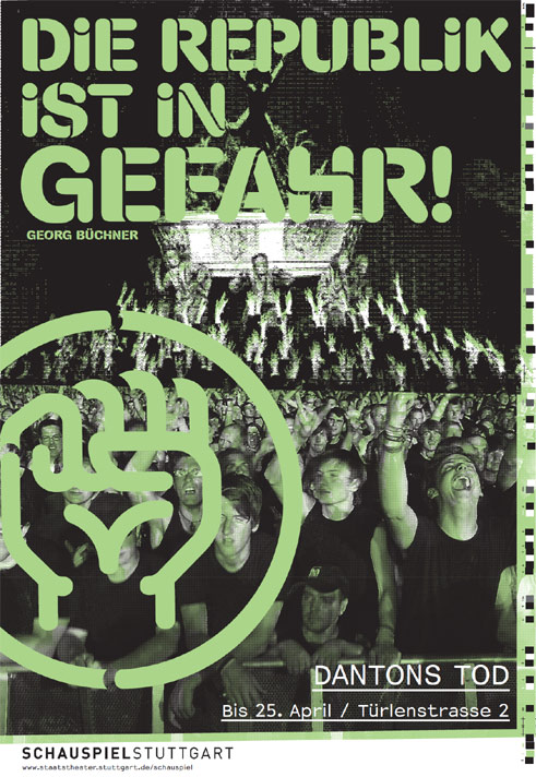 "Poster for ""Danton's Death"" by Georg Büchner, 2010 at the Stuttgart Staatsschauspiel, intendant: Hasko Weber (2006-2013);"