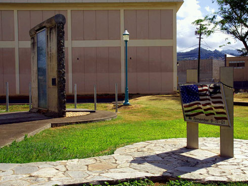 Part of the Berlin Wall on the Hawaii Community College campus in Honolulu, Hawaii;