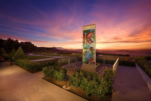 Fragment of the Berlin Wall in front of the Ronald Reagan Presidential Library in Simi Valley, California, USA;