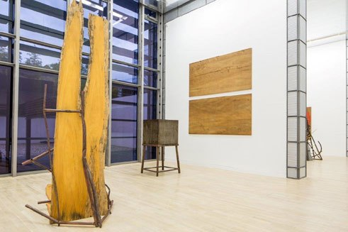 "View of the exhibition ""Imi Knoebel. Works 1966 – 2014"" at the Kunstmuseum Wolfsburg, ""Eigentum Himmelreich"" (1983)"