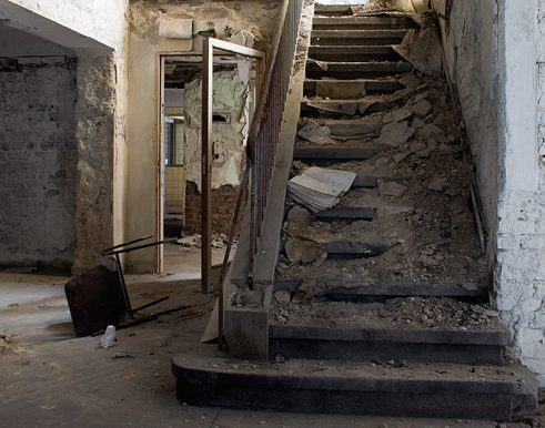 A stairway in a derelict swimming bath in North-Rhine Westphalia