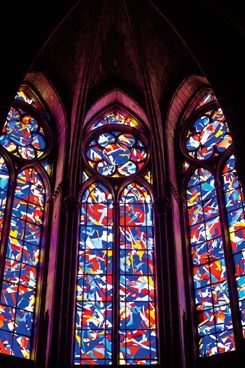 Imi Knoebel's stained glass images in the Cathedral of Reims;