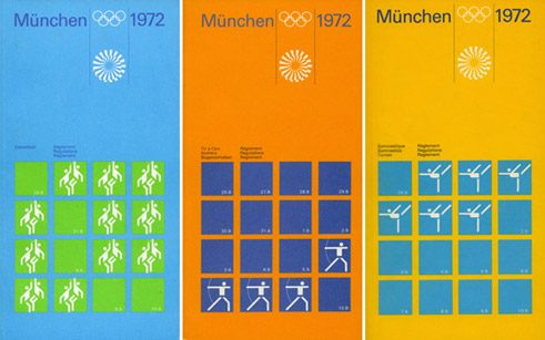 "Olympia 1972: Brochures ""Basketball"", ""Archery"" & ""Gymnastics"", 1968 - 1972, Design: Otl Aicher"