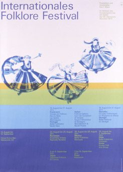 "Olympia Kulturplakat ""Internationales Folklore Festival"", 1968 - 1972, Entwurf: Otl Aicher"